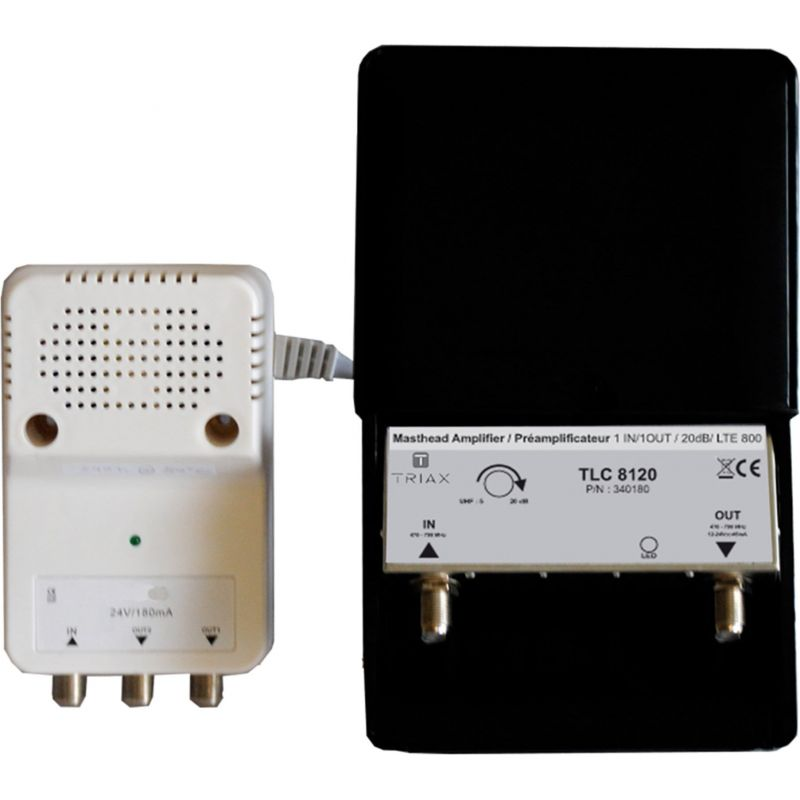 Triax TLC 8120 Kit de amplificador de mastro de TLC e fonte de alimentação de 24 VDC