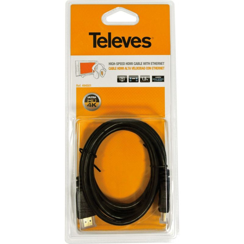 High Speed HDMI Cable with Male Ethernet - Male 3m Black Televes