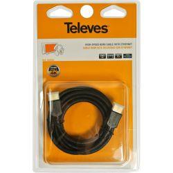 Cable HDMI Alta Velocidad con Ethernet macho - macho Negro 3m Televes