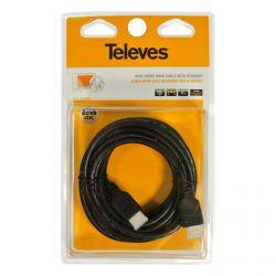 Cabo HDMI de alta velocidade com Ethernet macho - macho Preto 3m Televes