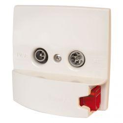Embellecedor blanco con toma de RJ45 2 conectores TV/R-SAT + DATA Televes