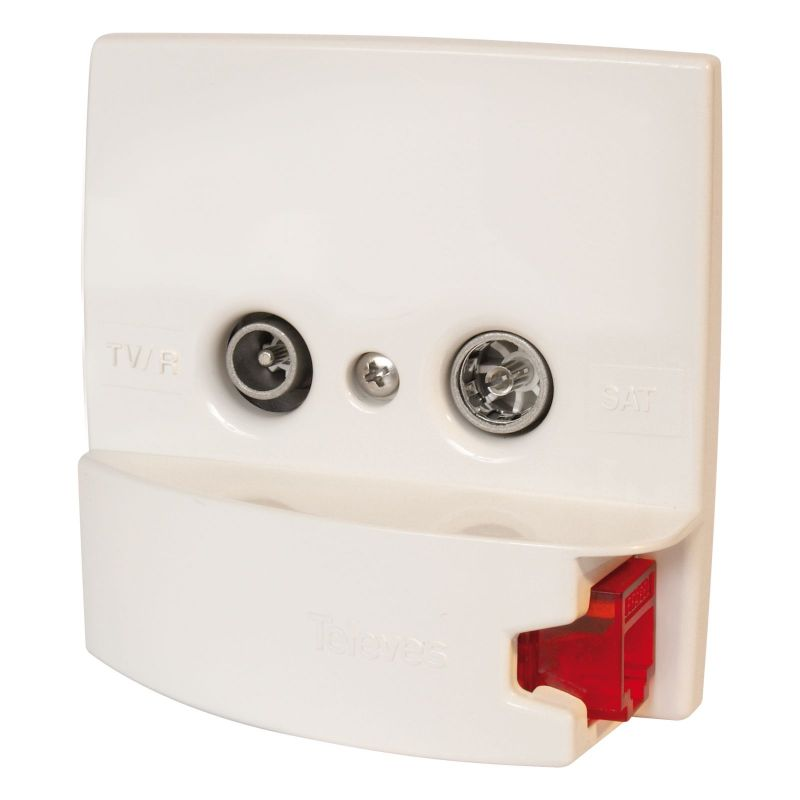 White trim with RJ45 socket 2 TV / R-SAT + DATA Televes connectors