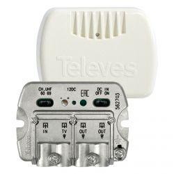 Caixa do amplificador NanoKom 3 saídas (2+TV) VHF/UHF - LTE Ready 23dB Televes