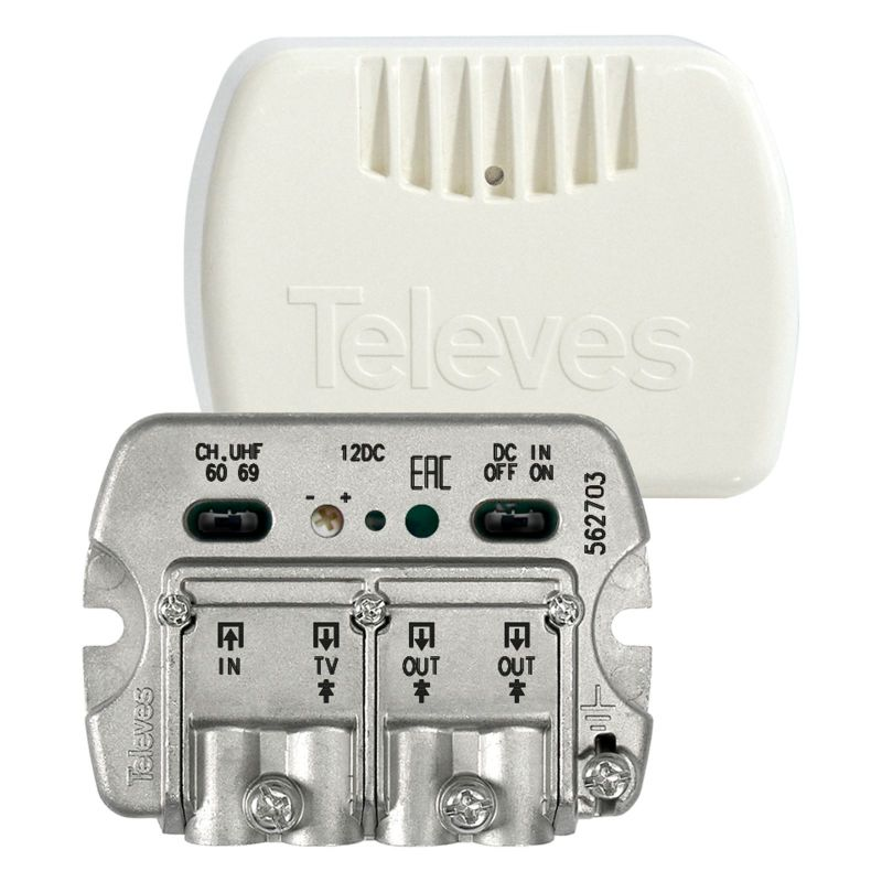 Amplificateur d'appartement NanoKom 3 sorties (2+TV) VHF/UHF - LTE Ready 23dB Televes