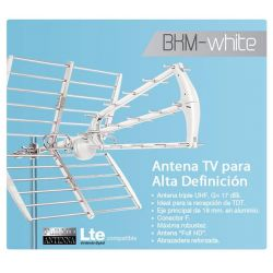 Antena BKM-White LTE UHF Full HD TDT 17 dB