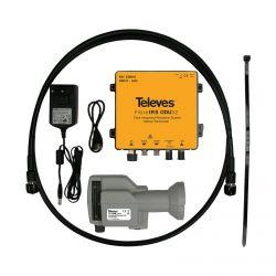 Kit LNB óptico ODU32 DAB/UHF/SAT 2 salidas 1550nm Televes