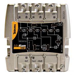 Amplificador MiniKom MATV + FI 5e/1s EasyF FM-VHF-UHF-UHF-FI