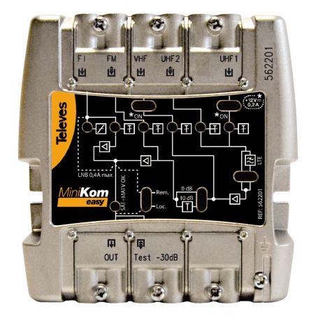 Amplificador MiniKom MATV+FI 5e/1s EasyF FM-VHF-UHF-UHF-FI