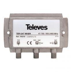 Mixer MATV-FI 2e / 1s F 47..790-950..2400MHz + DC Televes