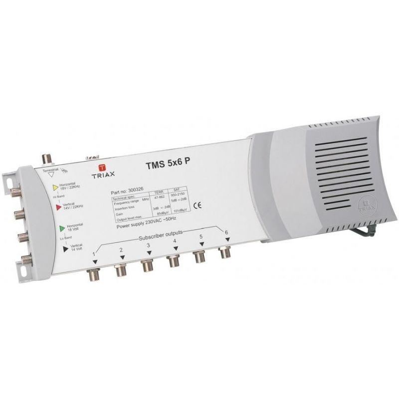 Triax TMS 5x6P Multiswitch End Switch 4 polarities + terrestrial for 6 receivers power supply included 5i/6o