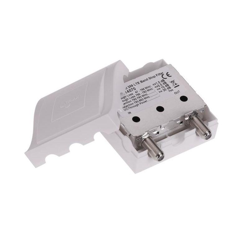 Triax TBSI 257 Filtre LTE/4G intérieur 1 entreé BI+BII+BIII+UHF Atténuation à C57. Triax 314074