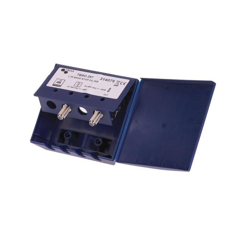 Triax TBSO 257 Filtre LTE/4G extérieur 1 entrée BI+BII+BIII+UHF Atténuation à C57. Triax 314075