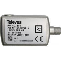 Filtre LTE700/5G Rejet moyen Connecteur F 47...694 MHz VHF/UHF (C21-48) Televes