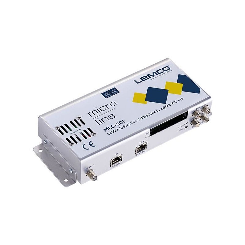 Lemco MLC-301 2 x DVB-S/S2/S2X + 2 x FlexCAM a 4 x DVB-T/C + IP streaming