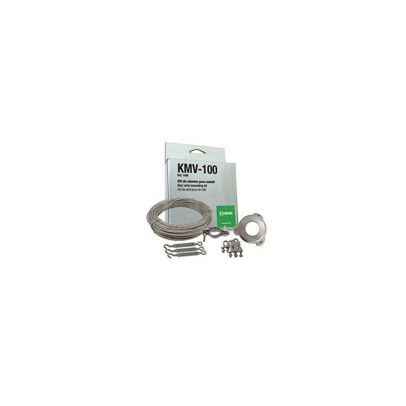 Ikusi KMV-100 Kit de fixation mât. 25 m de câble, brides pour fil de haubannage, tendeur de hauban etc