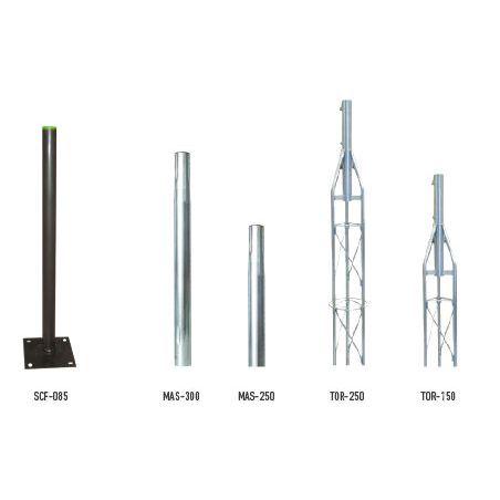 Ikusi MAS-250 Mâts emboîtable en acier zingué. 2,5m longueur x 35mm Ø. Épaisseur 1,5 mm
