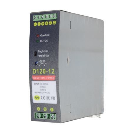 DC12V10A-DIN - Switching Power Supply, DC Output 12V 10A / 120W, 2…