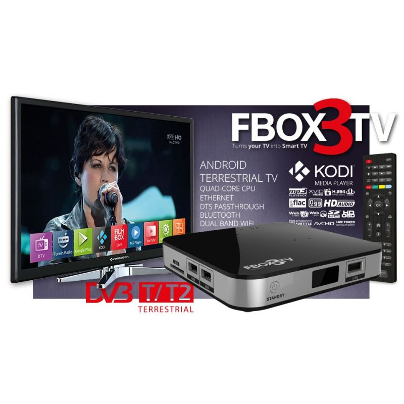 Ferguson Fbox3 TV Smart Tv Android 4.4 con tuner TDT DVB-T2. QuadCore, H265, Wifi Dual Band, DTS Dolby passtrought