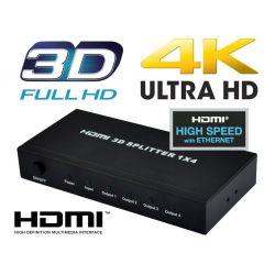 Distribuidor Splitter HDMI 1x4 (1 entrada 4 salidas) 3Dfull