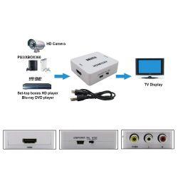 Conversor AV 3xRCA (audio+video) a HDMI, reescala a 1080p,  alimentado por USB