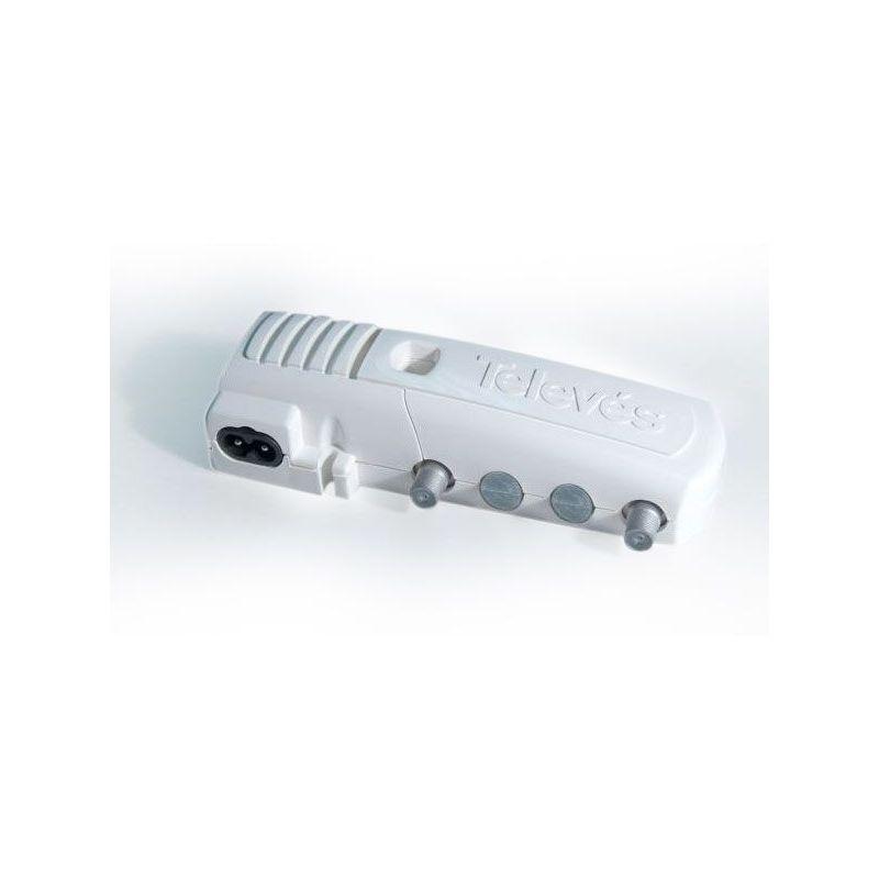 """Amplificateur domestique série """"Crocodile"""" CATV 1 sortie VR passive 5-30MHz connectique ''F'' - Blister Televes"""