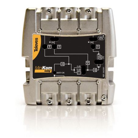 Central amplificadora Minikom 3e/1s FM-V-U Televes LTE