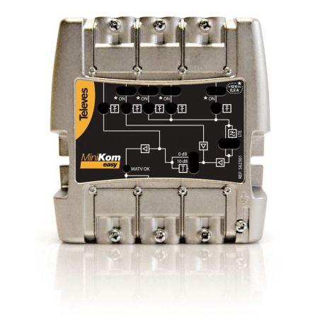 """Amplificateur série MiniKom """"Easy F"""" 4e/1s FM-V-U-U LTE Televes"""