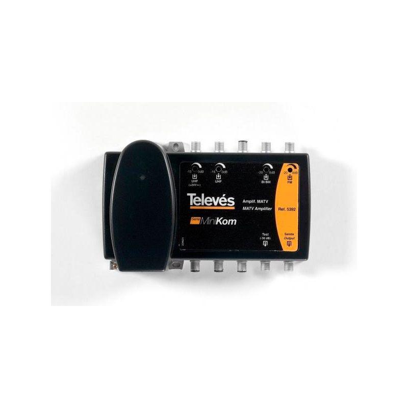 Amplificateur multibande terrestre 4e/1s BI/BIII-FM-UHF-UHF série ''Minikom'' Televes