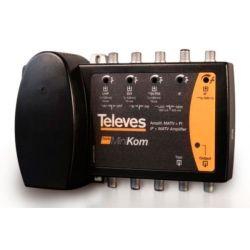 Amplificador Minikom SMATV 4e/1s BI/FM-BIII-UHF-FI Televes