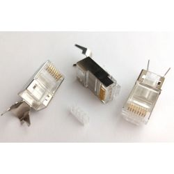 RJ45 Cat 6 plug, FTP shielded, with insert part, 4up 4down, gold plating