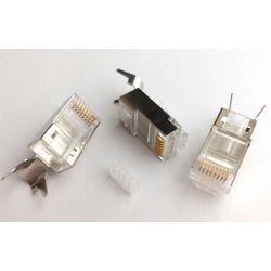 Conector RJ45 Cat 6, FTP apantallado, con pieza de inserción, 4 subida 4 bajada, chapado en oro