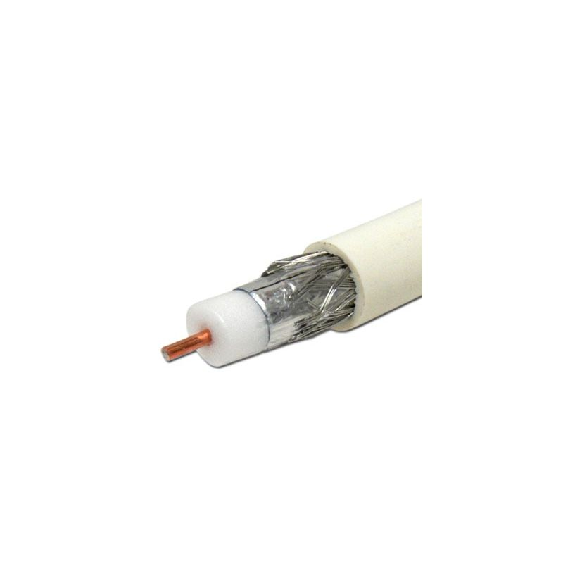 Cable coaxial RG6 trishield 80% apantallamiento blanco int-ext bobina 305 metros