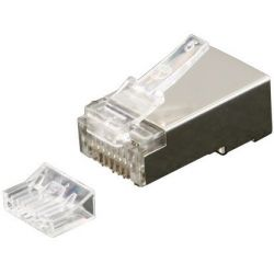 RJ45 Cat 6 plug, shielded, with insert part, 6up 2down, gold plating
