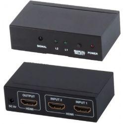 Switch HDMI 2x1 con mando a distancia (2 entradas 1 salida)