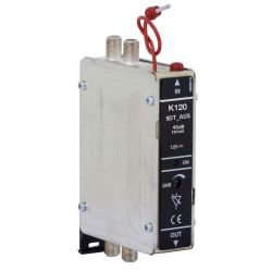 Fracarro K120L/xxDT: Amplificador monocanal UHF, Ganancia 45dB, Nivel de salida 120dBμV