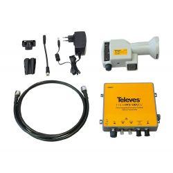 Conversion RF/Optique N-F-FC/PC, DAB/UHF - FI + LNB offset + Alimentation + éléments de raccordement Televes