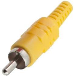 Conector RCA macho amarillo chapado en oro, de sustitución o para soldar. AP 51400-YG