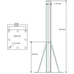 Soporte suelo de acero 100mm/1000 mm para antenas hasta 240 cm