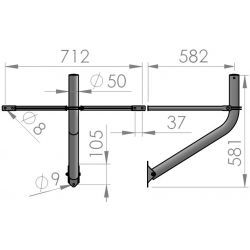 Floor/wall support with straps Ø 50mm for 110cm antennas. PSP-50