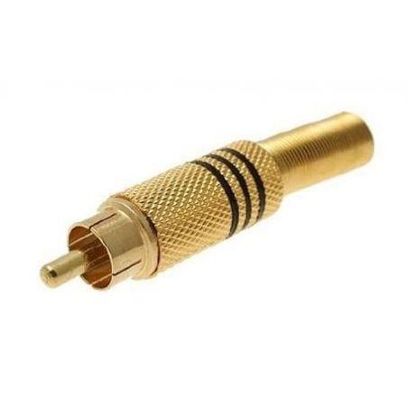 Conector RCA metalico, bañado en oro