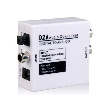 Convertisseur de audio numérique Toslink Optical (S/PDIF) ou RCA à audio analogique 2xRCA ou Jack 3,5mm