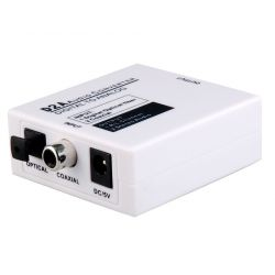Conversor áudio digital óptico Toslink (S/PDIF) ou RCA para áudio analógico 2xRCA ou Jack 3,5 mm
