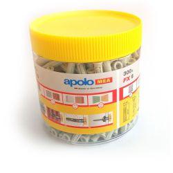 Pacote de 300 Pugs nylon Apolo FX6 de 6mm. Apolo Mea 96EXPFX