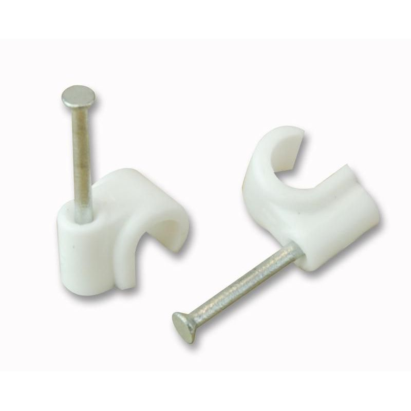 Unifix cable clip round white for 7mm coaxial cable 100 units (Clip with steel nail). Unifix ZZV44181
