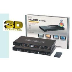 MATRIZ Matrix HDMI 4x2 (4 entradas 2 salidas),IR (mando a distancia) 3DFull