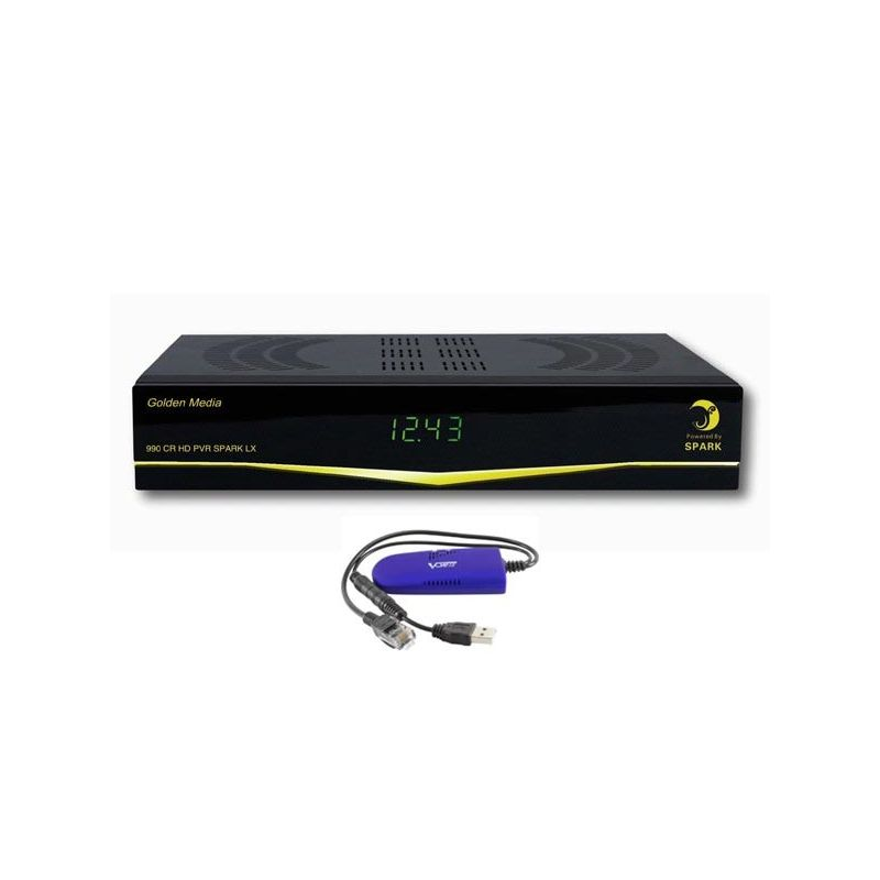 Receptor Satelite Golden Media 990 CR HD PVR Dual Linux Spark + E2