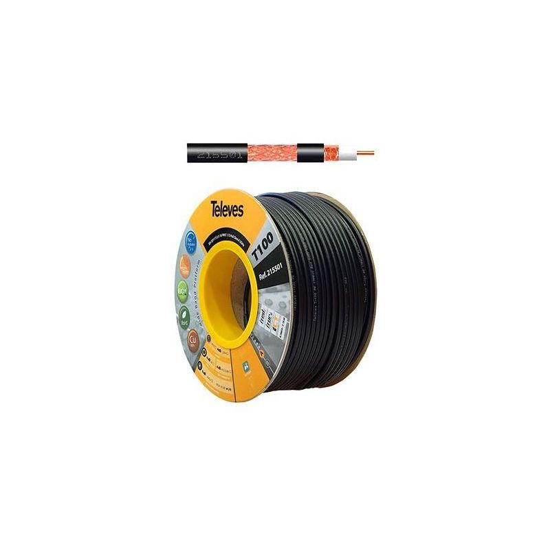 Cardboard coil 100m coaxial cable T100plus Fca/A 16VRtC Black Televes