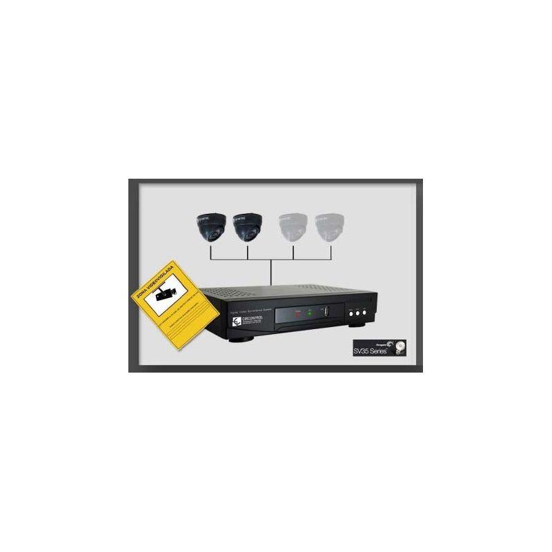 Kit HELIOS 4 video vigilancia profesional videograbador + HDD + 2 camaras + 2 fuentes + cartel