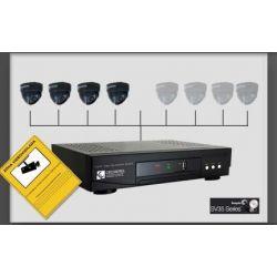 Kit HELIOS 8 video vigilancia profesional videograbador + HDD + 4 camaras + 4 fuentes + cartel