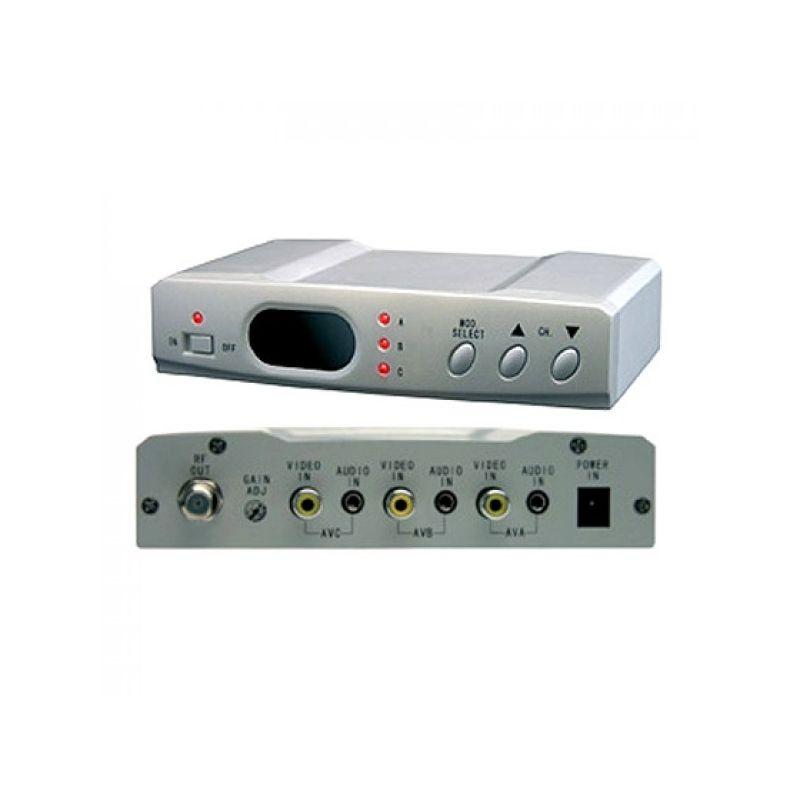 Modulador Illusion UHF 3 canales/entradas Estereo con selector 85 dB